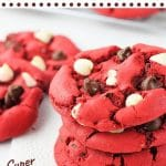 cookies stacked on a napkin with text overlays that say red velvet cake mix cookies, super easy, nowcookthis.com