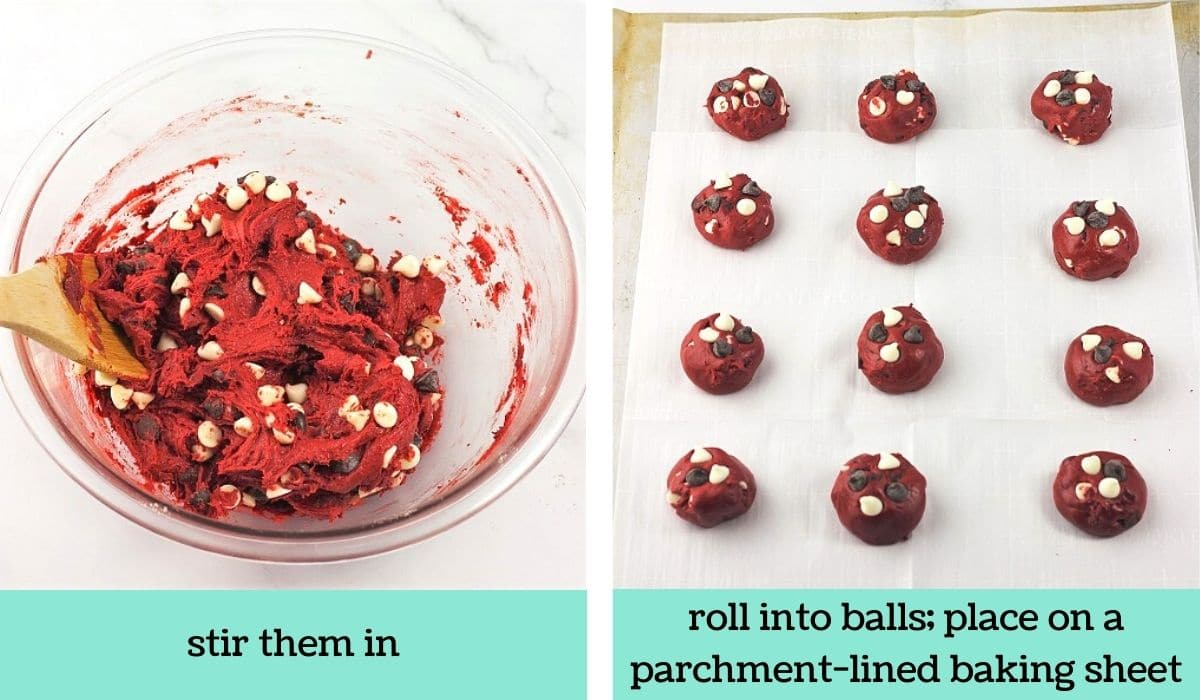 two images showing the steps to make easy red velvet cake mix cookies