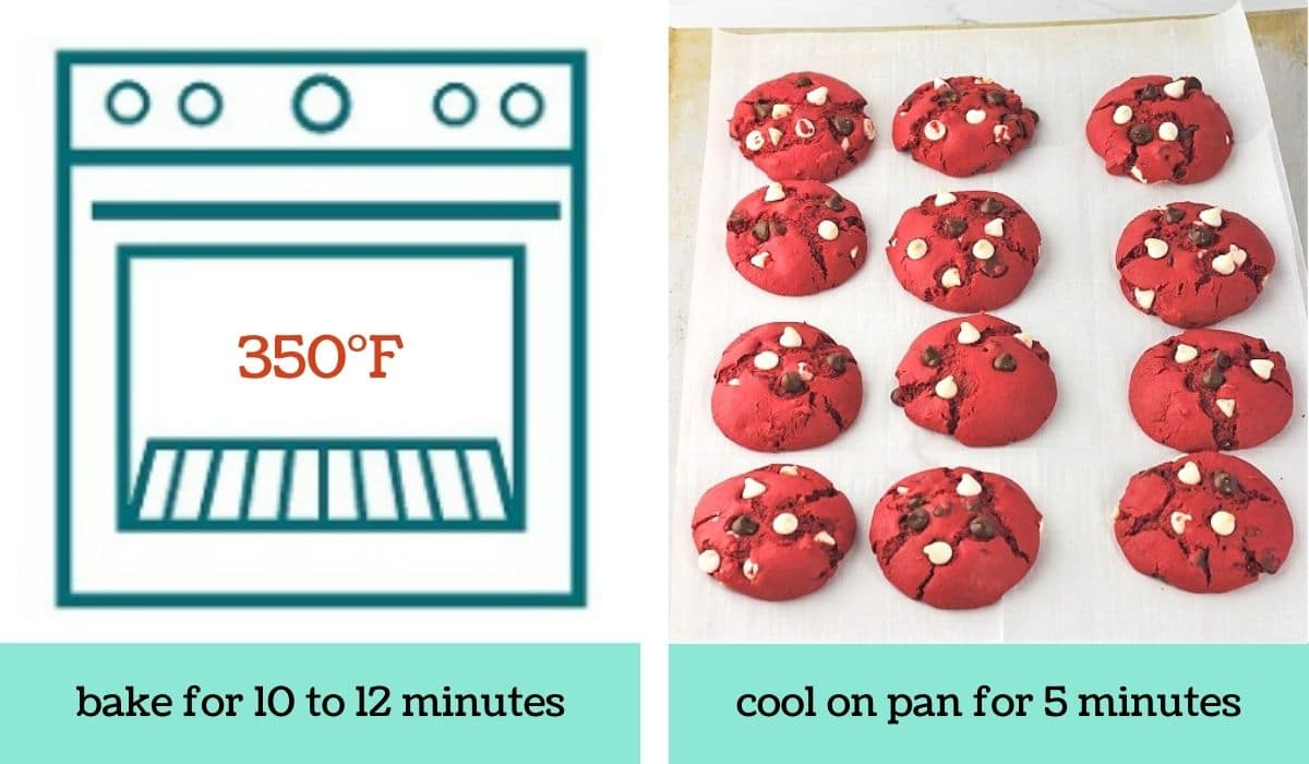 two images showing how to make easy red velvet cake mix cookies