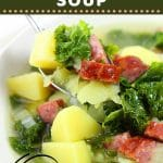 bowl of soup with a spoonful being lifted out with text overlays that say now cook this, portuguese caldo verde-style soup, easy