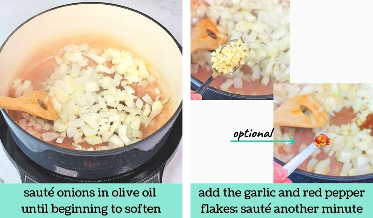 two images showing the steps to make Portuguese caldo verde-style soup