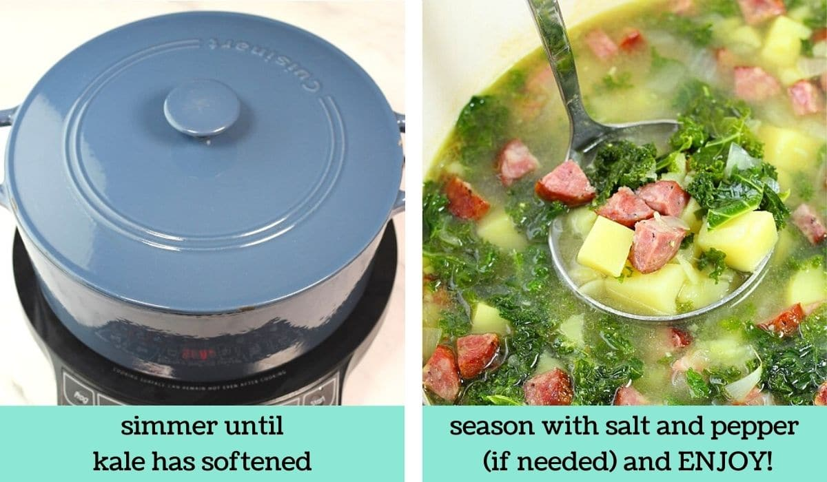 two images showing how to make Portuguese caldo verde-style soup