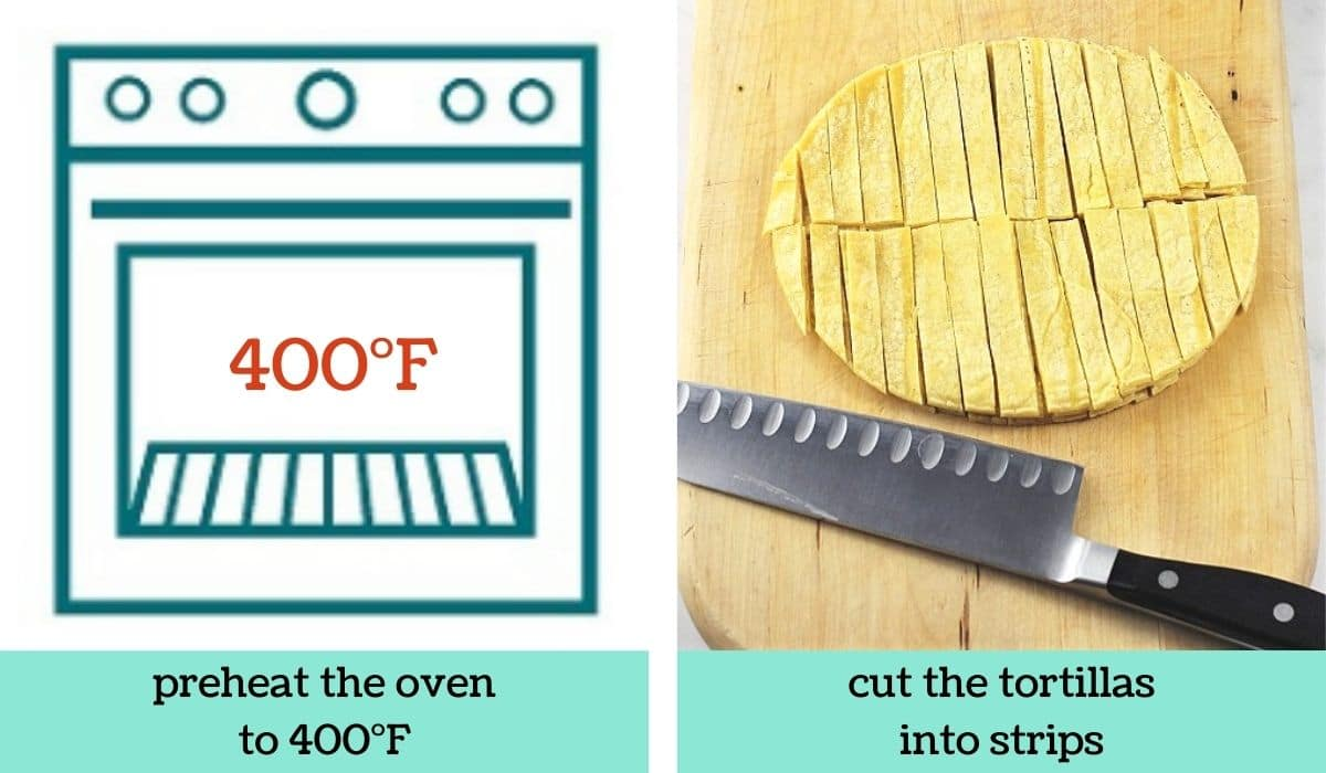 two images showing the steps to make quick and easy baked tortilla strips