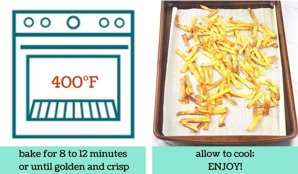 two images showing how to make quick and easy baked tortilla strips