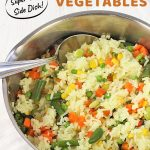 pot of rice and vegetables with a text overlay that says now cook this, rice with mixed vegetables, super easy side dish