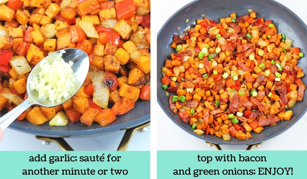 two images showing how to make sweet potato hash with bacon