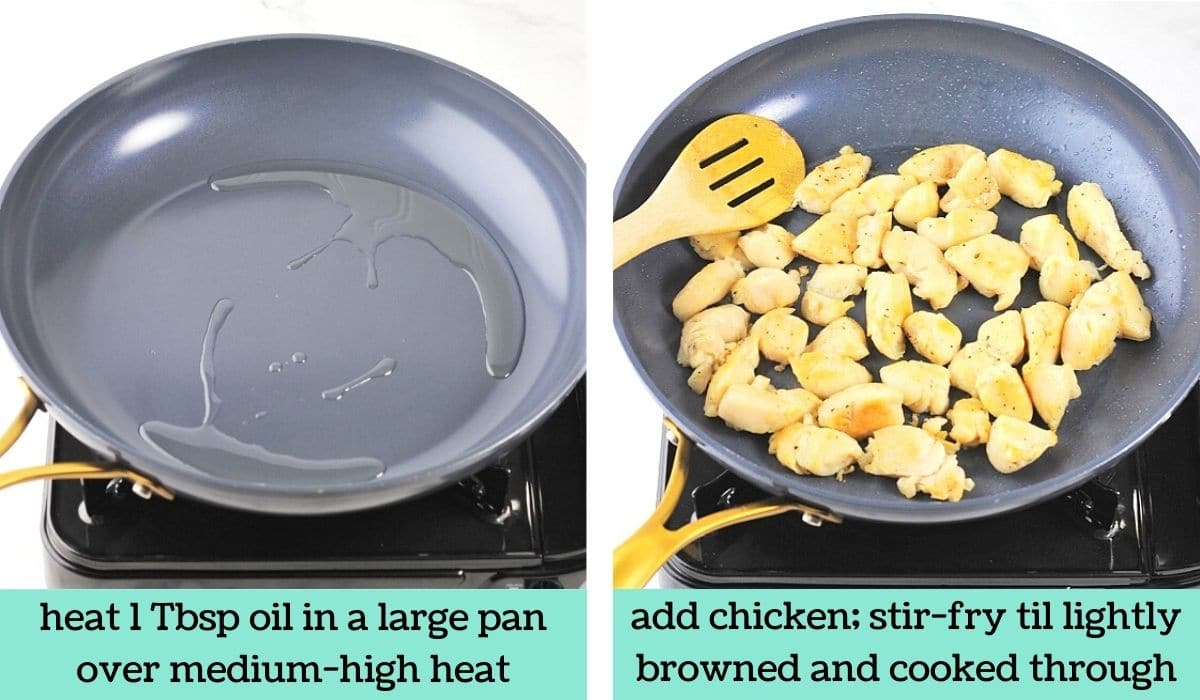 two images showing the steps to make chinese chicken and broccoli stir-fry