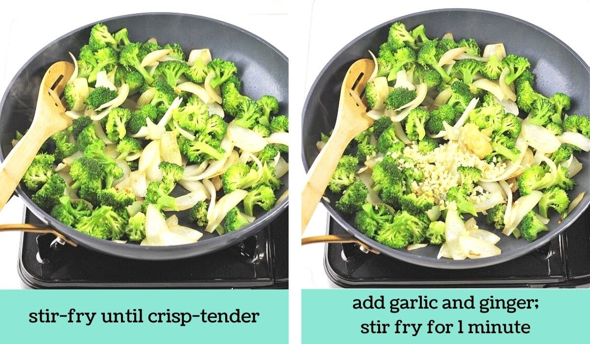 two images showing how to make chinese chicken and broccoli stir-fry