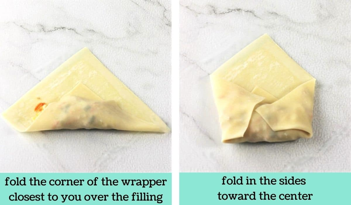 two images showing the steps to make easy air fryer egg rolls