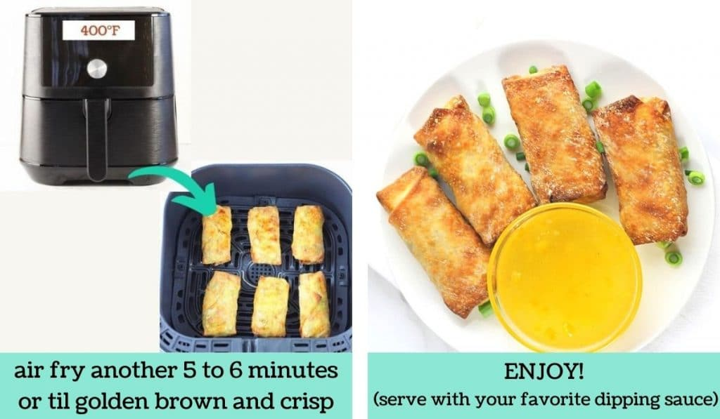 two images showing how to make easy air fryer egg rolls