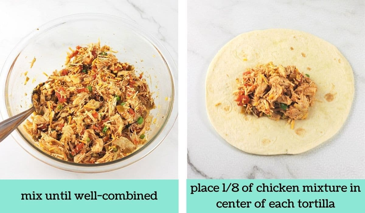 two images showing the steps to make easy baked chicken chimichangas