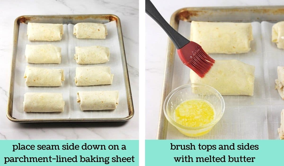 two images showing how to make easy baked chicken chimichangas