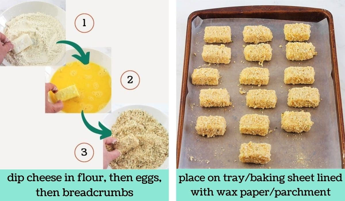 two images showing the steps to make homemade air fryer mozzarella bites
