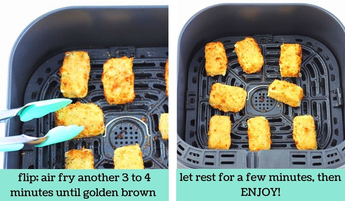 two images showing how to make homemade air fryer mozzarella bites