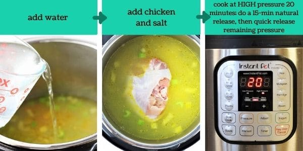 three images showing the steps to make instant pot chicken noodle soup