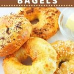 bagels on a plate with a text overlay that says now cook this quick and easy air fryer bagels