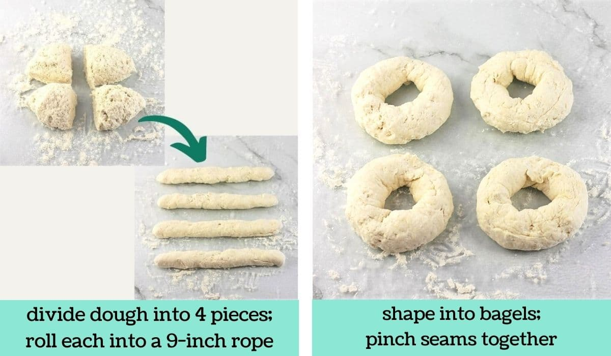 two images showing the steps to make quick and easy air fryer bagels