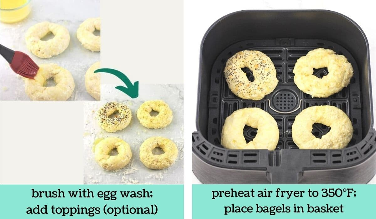 two images showing how to make quick and easy air fryer bagels