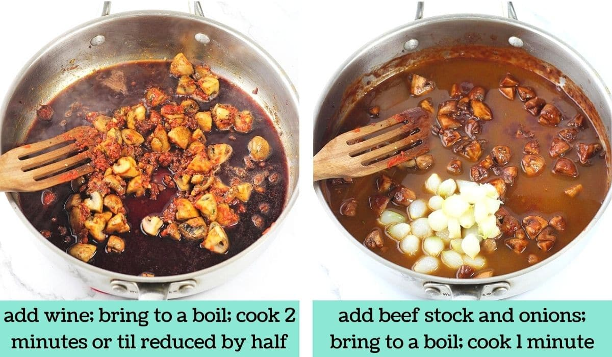 two images showing the steps to make quick and easy beef bourguignon