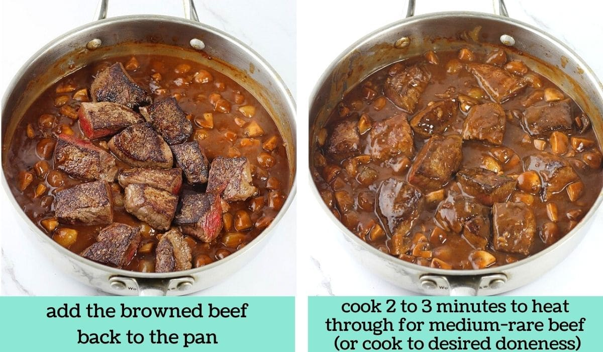 two images showing how to make quick and easy beef bourguignon