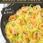 shrimp and pasta in a skillet with a text overlay that says now cook this, shrimp scampi with angel hair pasta, quick and easy