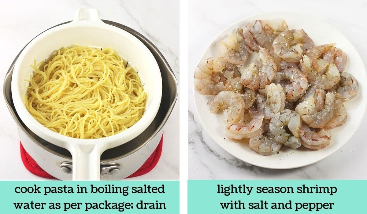 two images showing the steps to make shrimp scampi with angel hair pasta
