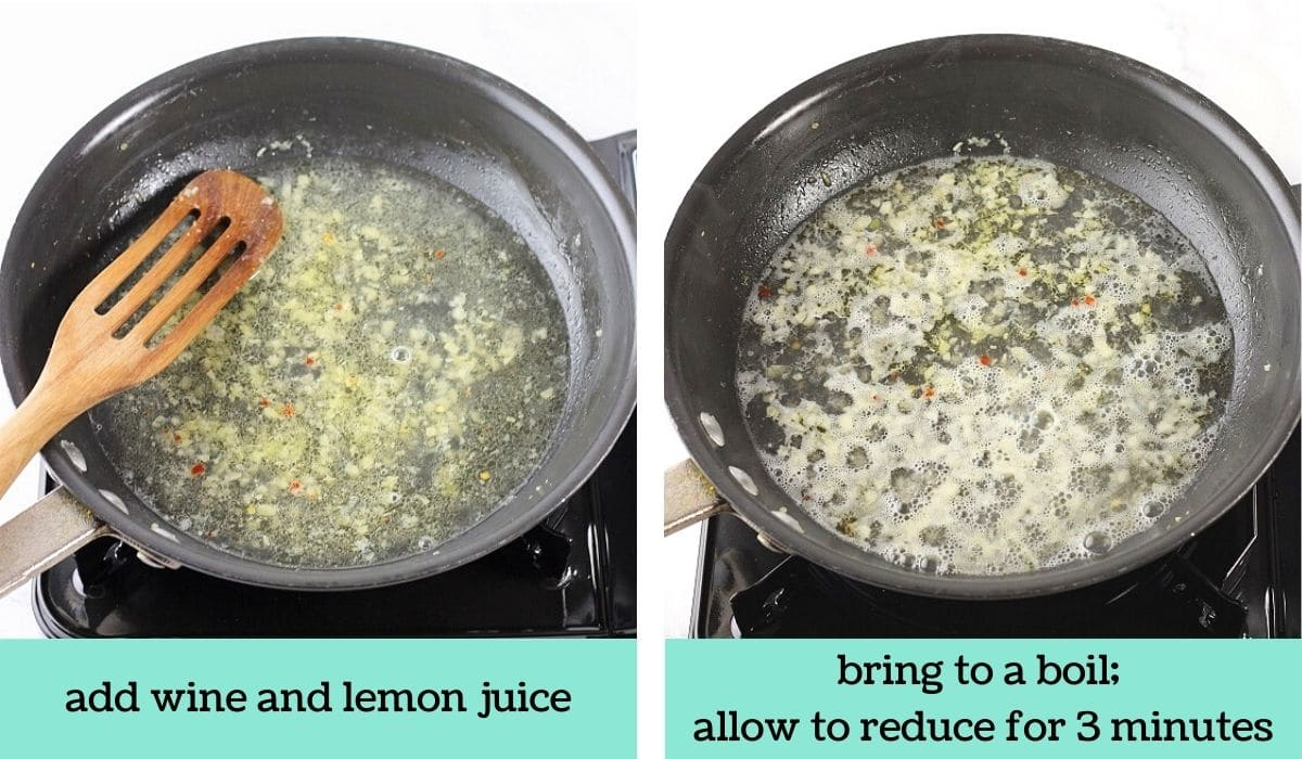 two images showing how to make shrimp scampi with angel hair pasta