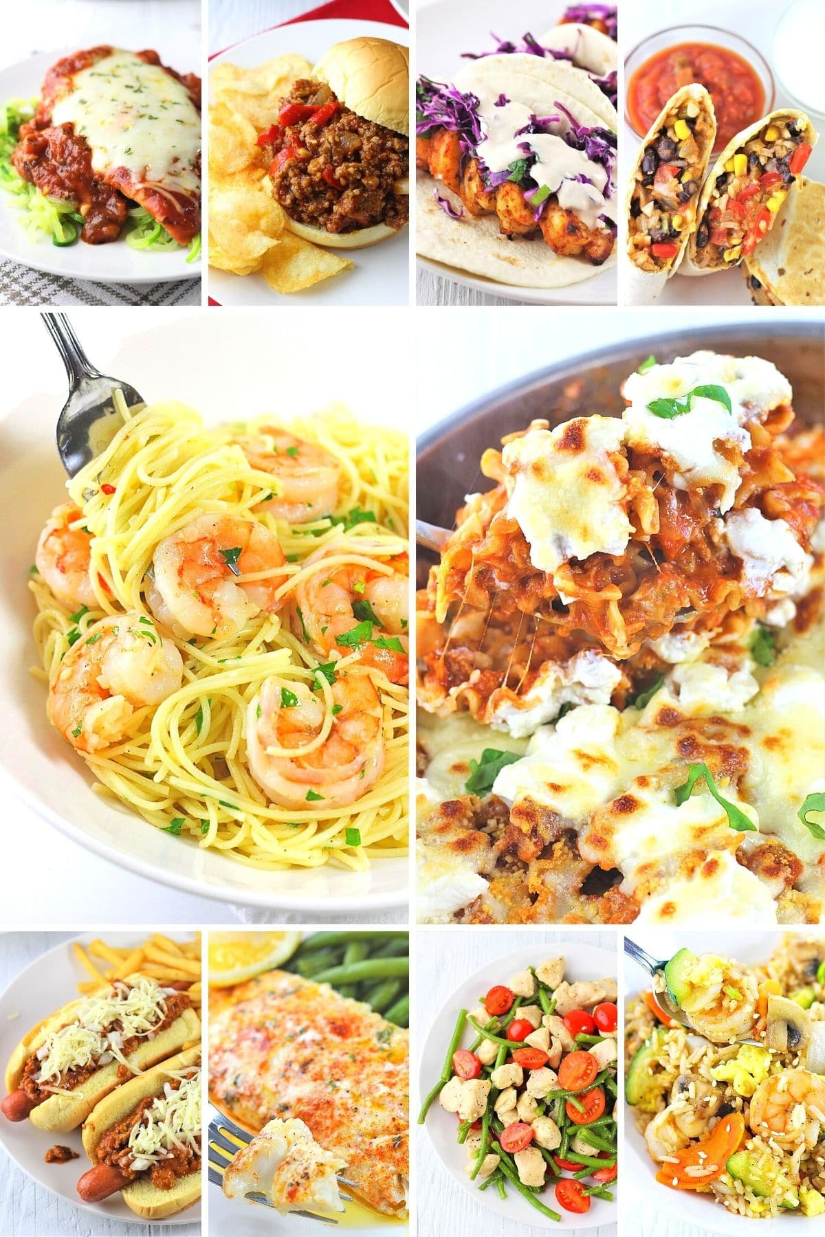 collage of 10 images of 30-minute recipes