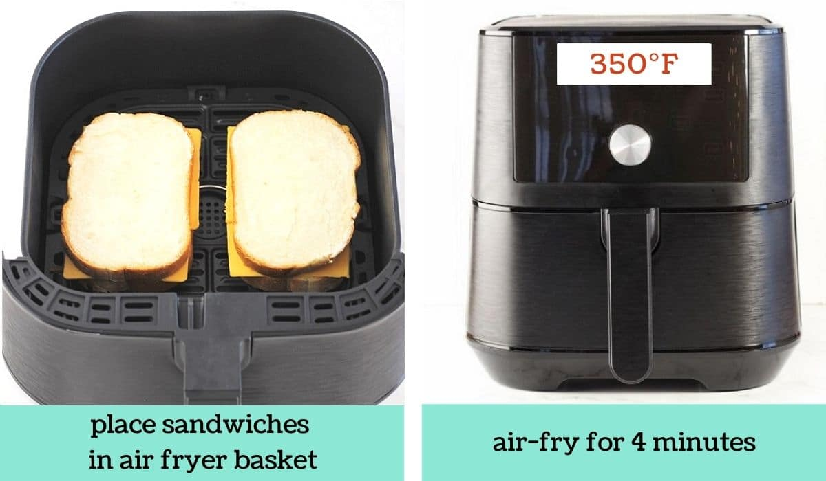 two images showing how to make air fryer grilled cheese sandwiches