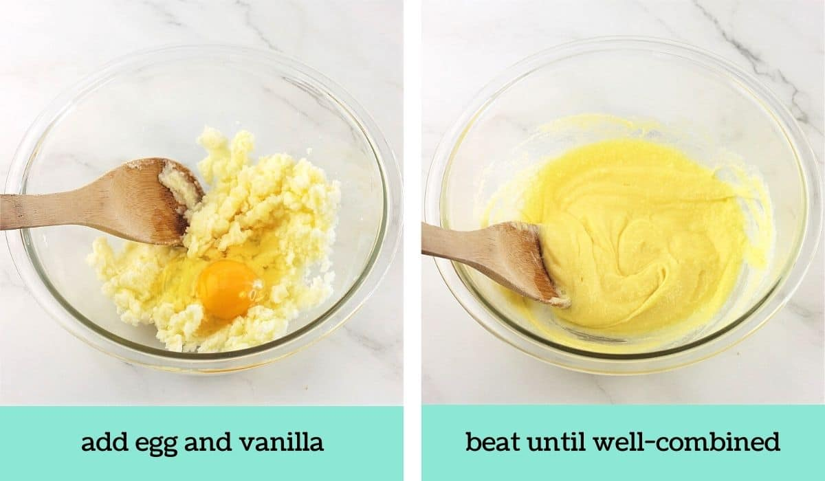 two images, one of a mixing bowl with butter, sugar, egg and vanilla and a wooden spoon with text that says add egg and vanilla, and the other of the ingredients in the mixing bowl mixed together with a wooden spoon with text that says beat until well-combined
