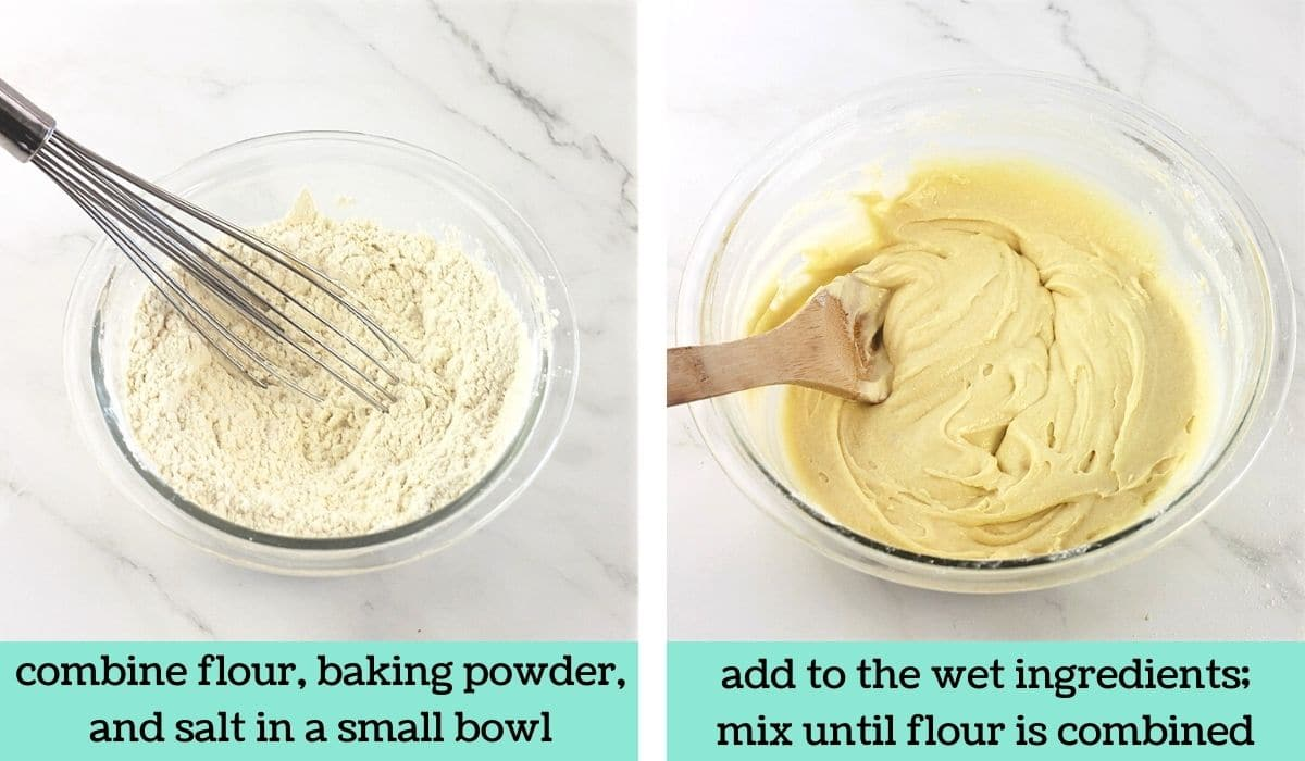 two images, one of a mixing bowl filled with flour, baking powder and salt with a whisk with text that says combine flour, baking powder and salt in a small bowl, the other of batter in a bowl with a wooden spoon with text that says add to the wet ingredients, mix until flour is combined