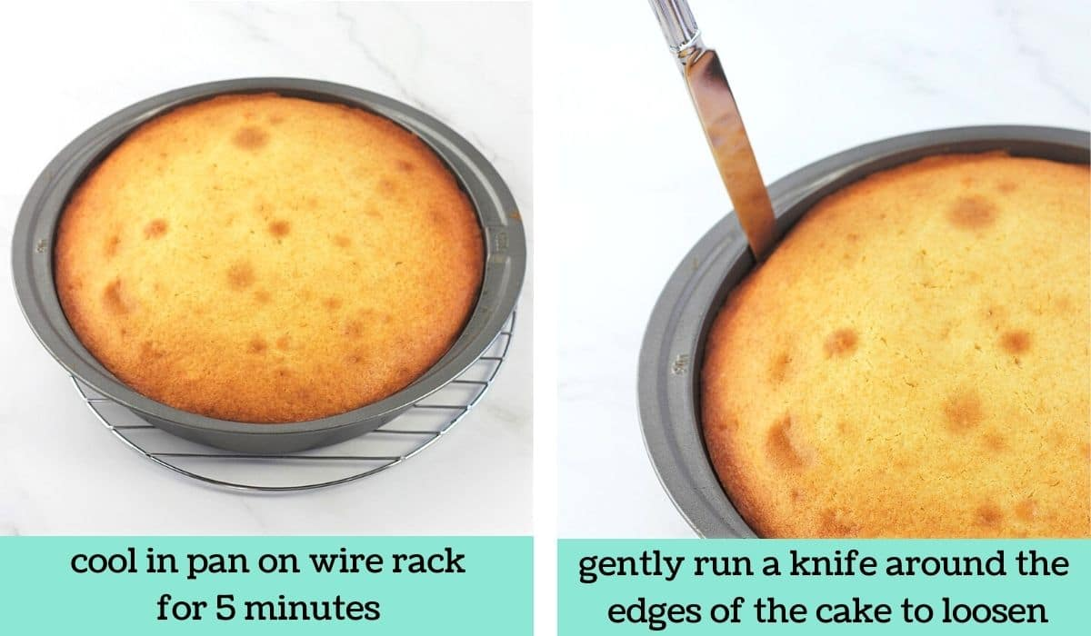 two images, one of the baked cake in the cake pan on a wire cooling rack with text that says cool in pan on wire rack for 5 minutes, the other of a knife being run around the edges of the cake in the pan with text that says gently run a knife around the edges of the cake to loosen