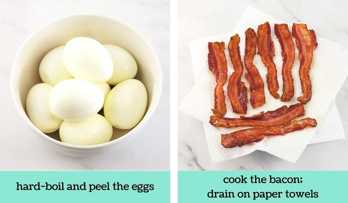 two images showing the steps to make egg salad BLT sandwiches