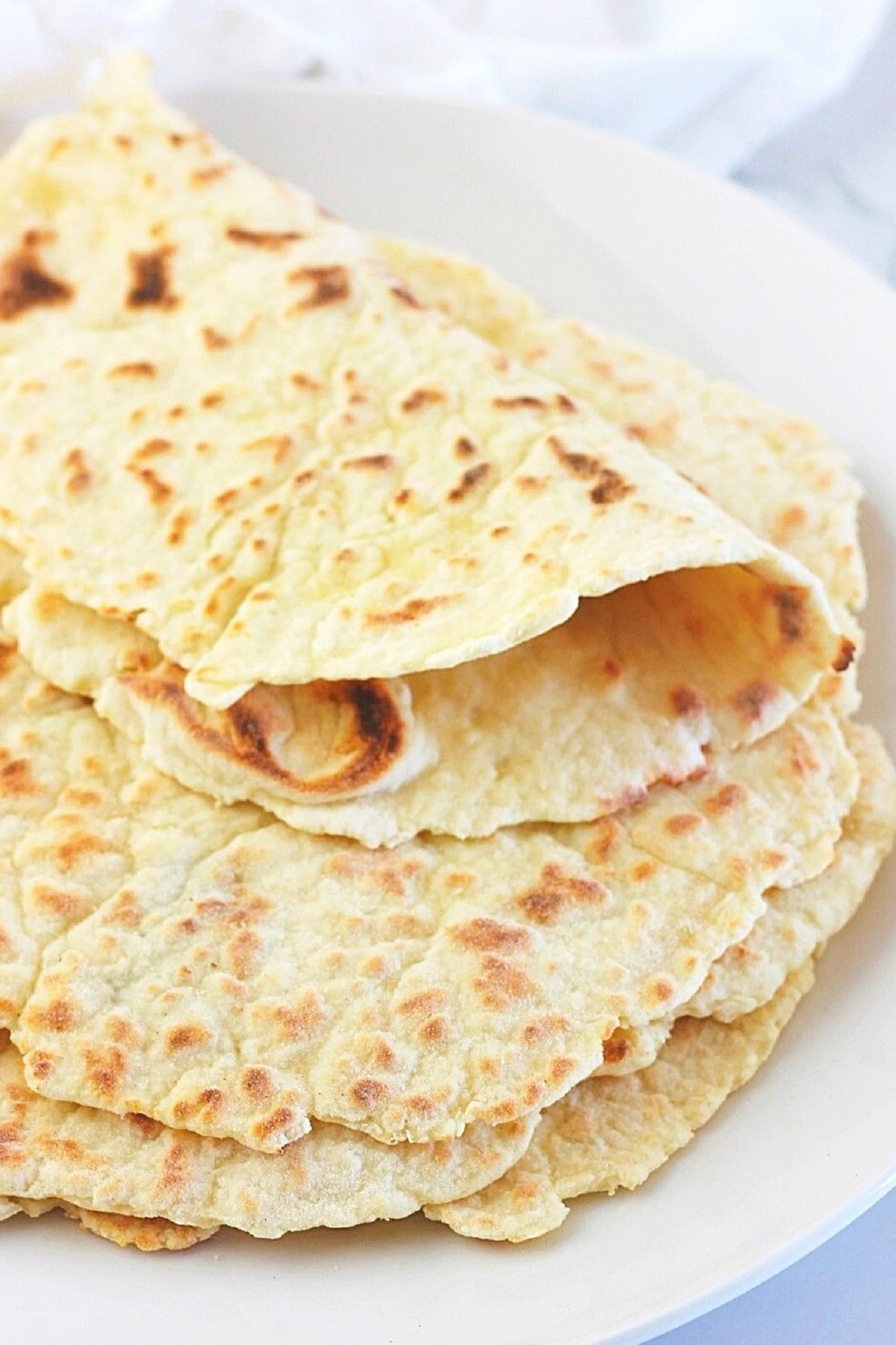 quick and easy yogurt flatbread stacked on a plate