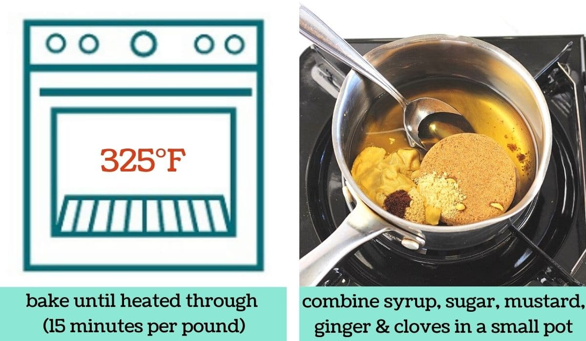 two images, one a graphic of an oven with text that says 325 degrees Fahrenheit and bake until heated through, 15 minutes per pound, and the other of maple syrup, brown sugar, mustard, ginger, and cloves in a pot with a spoon with text that says combine syrup, sugar, mustard, ginger, and cloves in a small pot