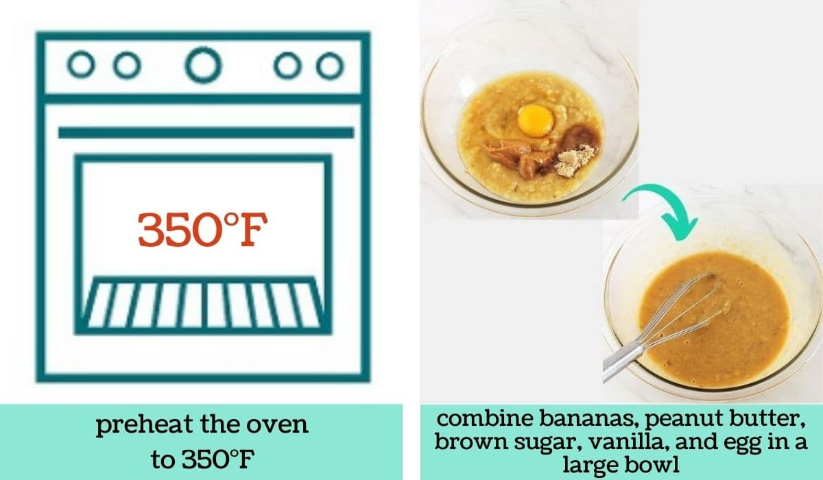 two images showing the steps to make peanut butter, banana and jam baked oatmeal