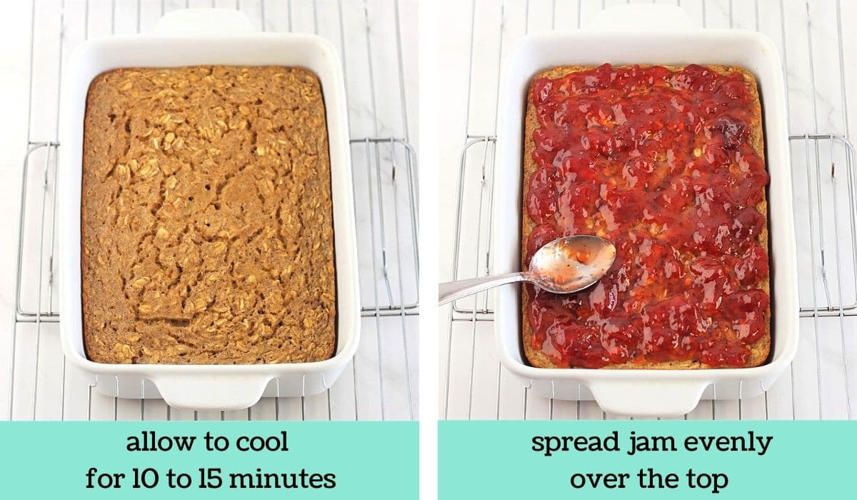 two images showing how to make peanut butter, banana and jam baked oatmeal
