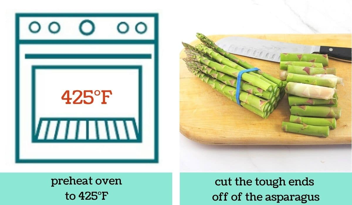 two images, one a graphic of an oven with text overlay that says preheat oven to 425 degrees Fahrenheit, the other of a cutting board with asparagus and a knife on it with the bottoms of the asparagus cut off with text that says cut the tough ends off of the asparagus