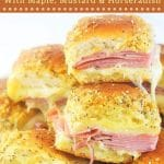 ham and cheese sliders stacked on a plate with text overlays that say now cook this, baked ham and cheese sliders with maple, mustard, and horseradish