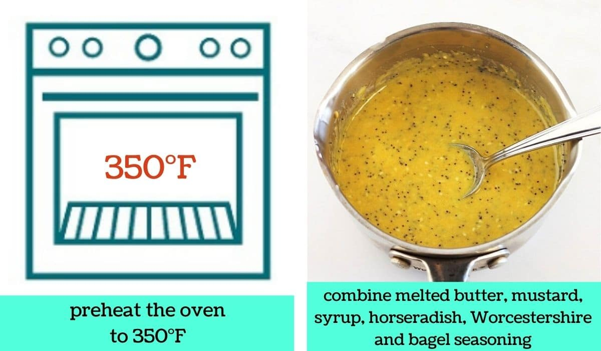 two images, one a graphic of an oven with text that says preheat the oven to 350 degrees Fahrenheit, the other over a butter mixture in a pot with a spoon with text that says combine melted butter, mustard, syrup, horseradish, Worcestershire, and bagel seasoning