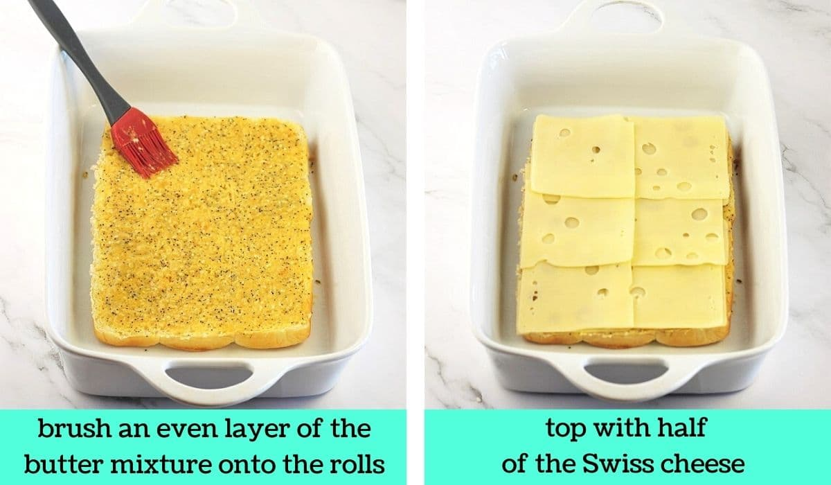 two images, one of the rolls being brushed with the butter mixture with text that says brush an even layer of the butter mixture onto the rolls, the other of the rolls topped with cheese with text that says top with half of the Swiss cheese