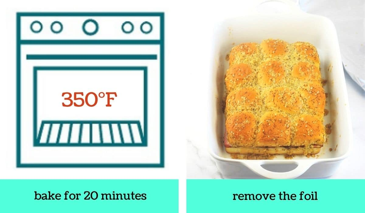 two images, one a graphic of an oven with text that says 350 degrees Fahrenheit, bake for 20 minutes, the other of the partially cooked slides in the baking dish with the foil taken off with text that says remove the foil