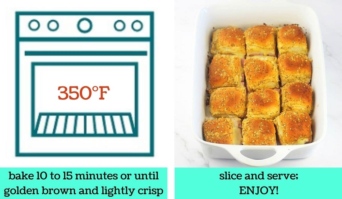 two images, one a graphic of an oven with text that says 350 degrees Fahrenheit, bake 10 to 15 minutes or until golden brown and lightly crisp, the other of the finished cut sliders in the baking dish with text that says slice and serve, enjoy