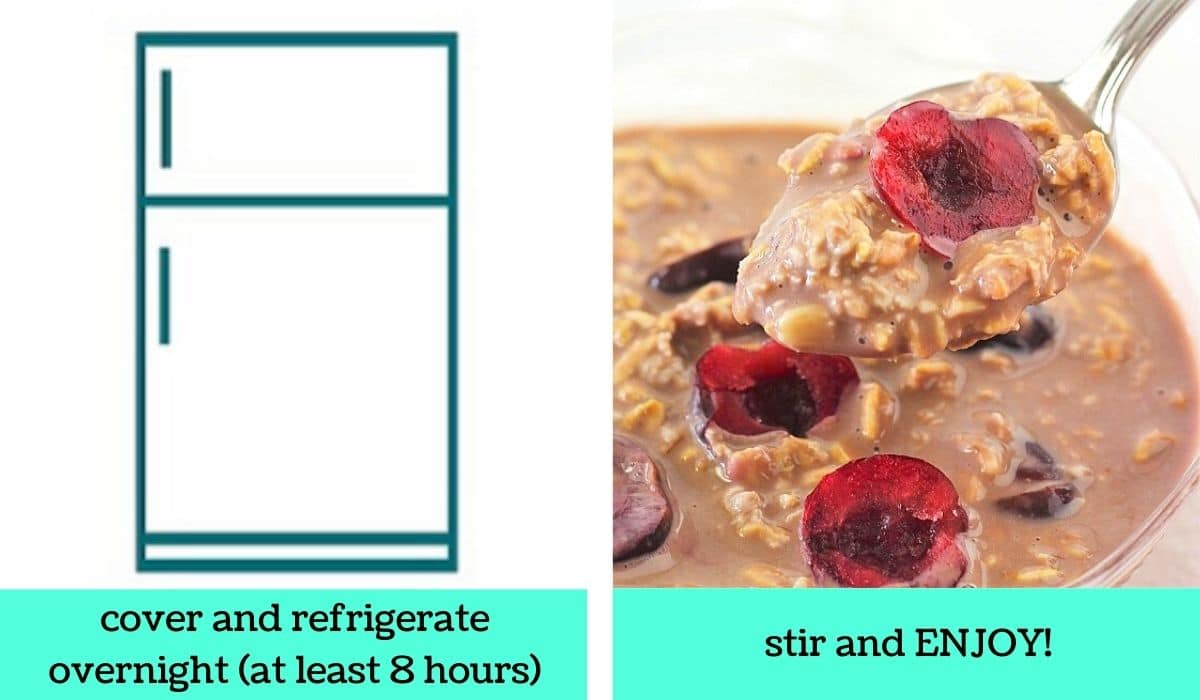 two images, one a graphic of a refrigerator with text that says cover and refrigerate overnight at least 8 hours, the other of a spoonful of the finished oats being taken out of a bowl with text that says stir and enjoy