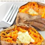 two baked sweet potatoes on a plate with forks with text overlay that says now cook this, easy air fryer baked sweet potatoes