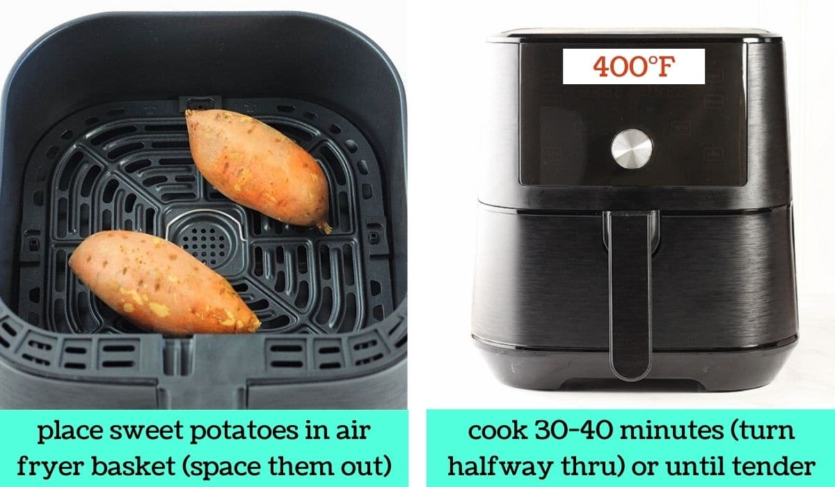 two images, one of two sweet potatoes in an air fryer basket with text that says place sweet potatoes in air fryer basket, space them out, and one of an air fryer with text that says cook 30 to 40 minutes, turn halfway through, or until tender