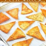 pita chips on a baking sheet with text overlays that say now cook this, easy homemade baked pita chips, and get the recipe
