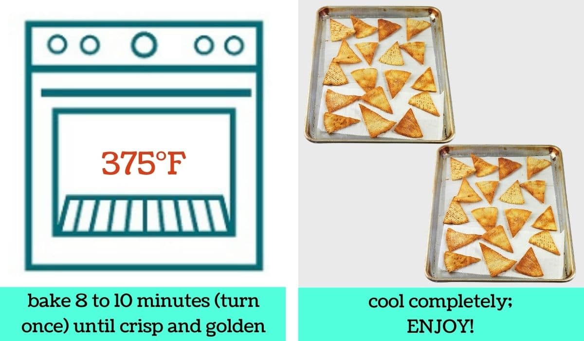 two images, on a graphic of an oven with text that says 375 degrees Fahrenheit and bake 8 to 10 minutes, turn once, until crisp and golden, the other of 2 baking sheets full of baked pita chips with text that says cool completely, enjoy