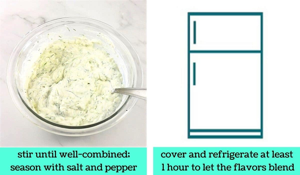 two images, one of a bowl of the finished tzatziki with a spoon in it with text that says stir until well combined, season with salt and pepper, the other a graphic of a refrigerator with text that says cover and refrigerate at least 1 hour to let the flavors blend