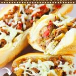 cheesesteaks on a plate with text overlays that say now cook this, homemade cheesesteaks with mushrooms, onions and peppers, and get the recipe